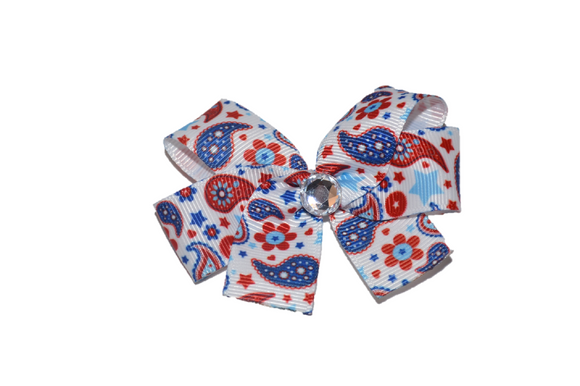 White Red Blue Pattern Bow (Misc Patterns) - Dream Lily Designs