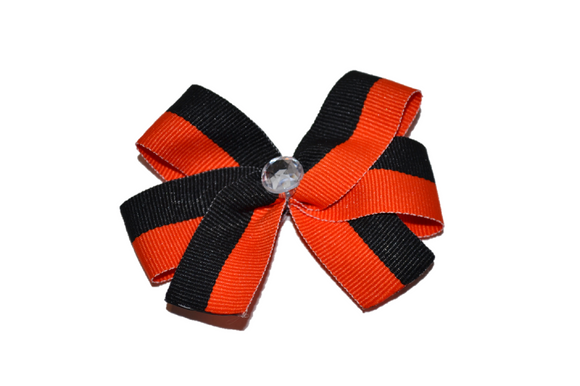 Orange Black Striped Bow (Stripes and Chevron)