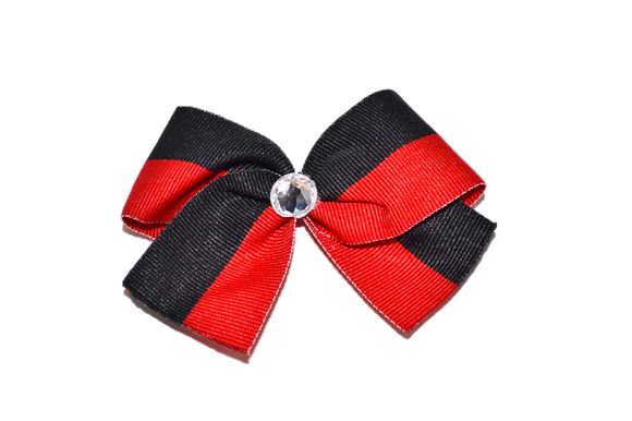 1.5 Inch Red Black Striped Bow (Stripes and Chevron)