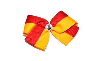 1.5 Inch Red Yellow Striped Bow (Stripes and Chevron)