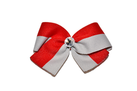 1.5 Inch Red Grey Striped Bow (Stripes and Chevron)