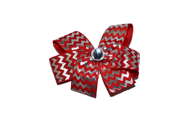 Red with Silver Foil Chevron Bow (Stripes and Chevron) - Dream Lily Designs