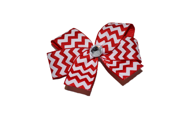 Red and White Chevron Bow (Stripes and Chevron) - Dream Lily Designs