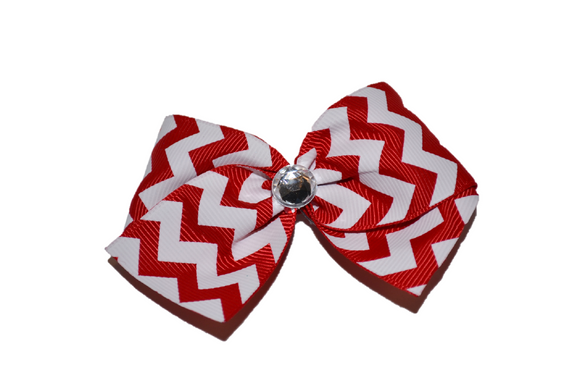 1.5 Inch Red and White Chevron Bow (Stripes and Chevron) - Dream Lily Designs