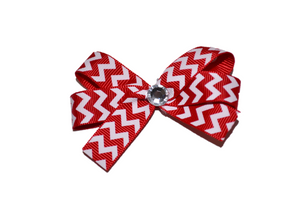 Red White Skinny Chevron Bow (Stripes and Chevron) - Dream Lily Designs
