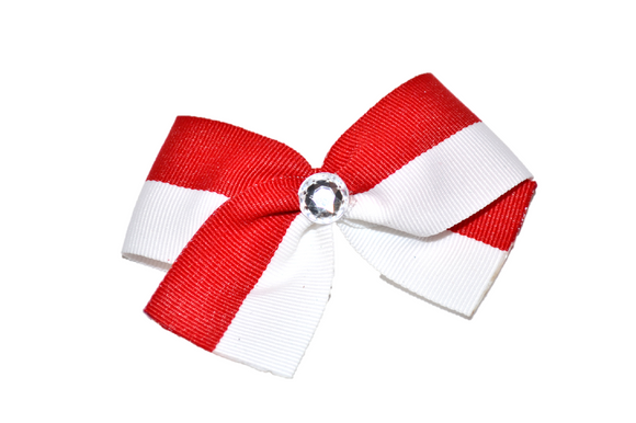 1.5 Inch Red White Striped Bow (Stripes and Chevron) - Dream Lily Designs