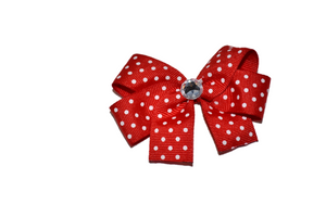 Red with White Small Polka Dots Bow (Misc Patterns) - Dream Lily Designs
