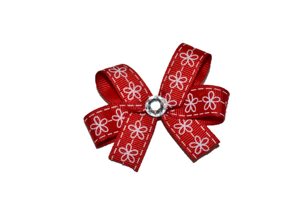 Red Flower Stitch Pattern Bow (Misc Patterns) - Dream Lily Designs