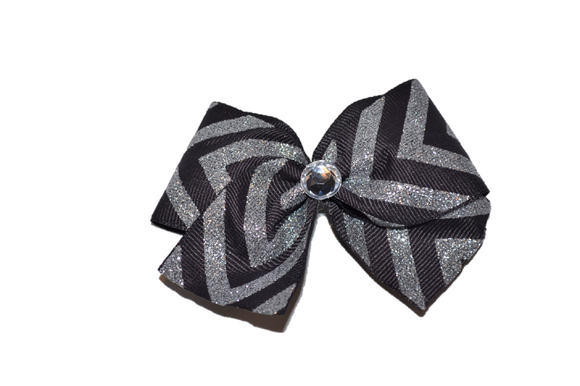1.5 Inch Black and Silver Glitter Chevron Bow (Stripes and Chevron)