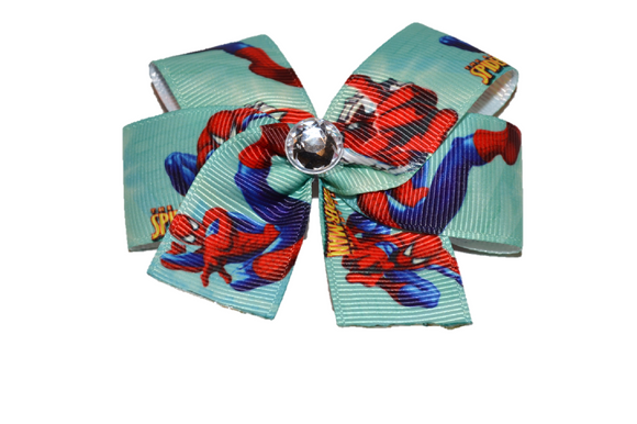 Green Spiderman Bow (Superhero) - Dream Lily Designs