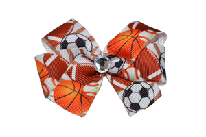Soccer Basketball Baseball and Football Bow (Sports) - Dream Lily Designs