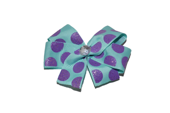 Aqua with Purple Glitter Polka Dots Bow (Misc Patterns) - Dream Lily Designs