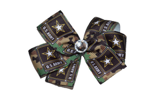 Army Star Tan Camo Pattern Bow (Service) - Dream Lily Designs