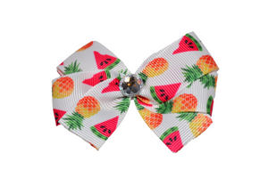 Watermelon and Pineapple Hair Bow (Food) - Dream Lily Designs
