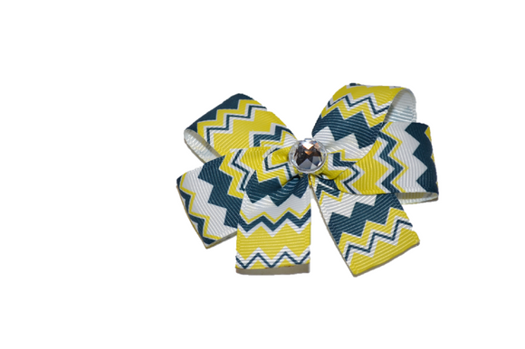 Navy Blue and Yellow Chevron Bow (Stripes and Chevron) - Dream Lily Designs