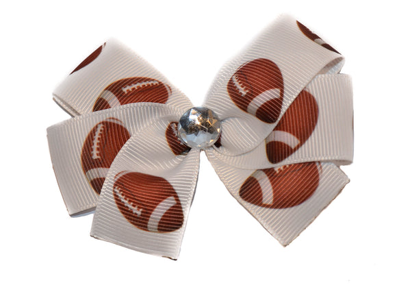 Football on White Bow (Sports) - Dream Lily Designs
