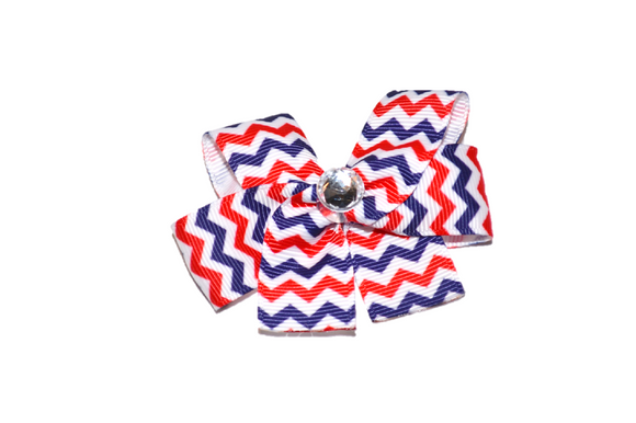 Navy Blue Red White Chevron Bow (Stripes and Chevron) - Dream Lily Designs