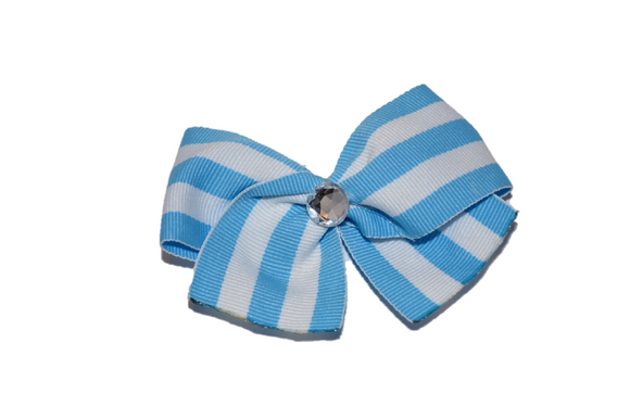 1.5 Inch Light Blue and White Thin Striped Bow (Stripes and Chevron) - Dream Lily Designs