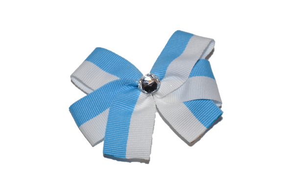 Light Blue and White Striped Bow (Stripes and Chevron) - Dream Lily Designs