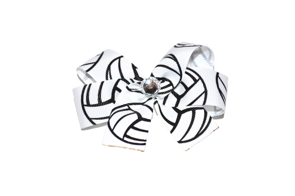 White Black Large Volleyball Bow (Sports) - Dream Lily Designs