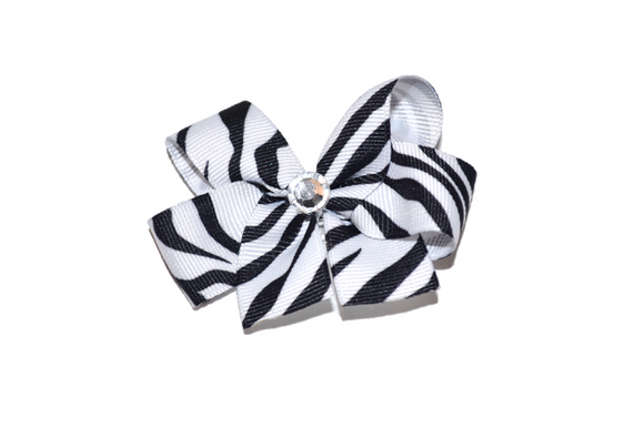1 Inch Black White Zebra Stripe Bow (Animal)