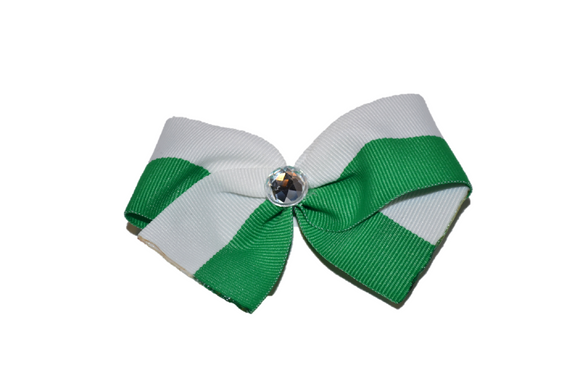 1.5 Inch Green White Striped Bow (Stripes and Chevron)