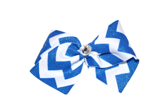 1.5 Inch Royal Blue and White Glitter Chevron Bow (Stripes and Chevron)