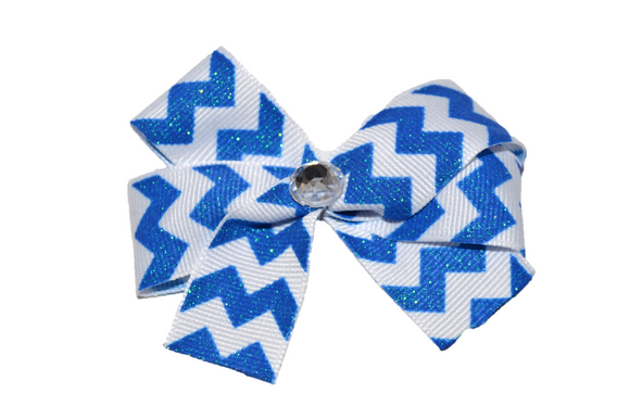 Blue and White Chevron Bow (Stripes and Chevron) - Dream Lily Designs