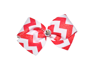 1.5 Inch Coral Red and White Glitter Chevron Bow (Stripes and Chevron)