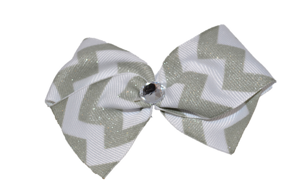1.5 Inch Silver and White Chevron Bow (Stripes and Chevron)