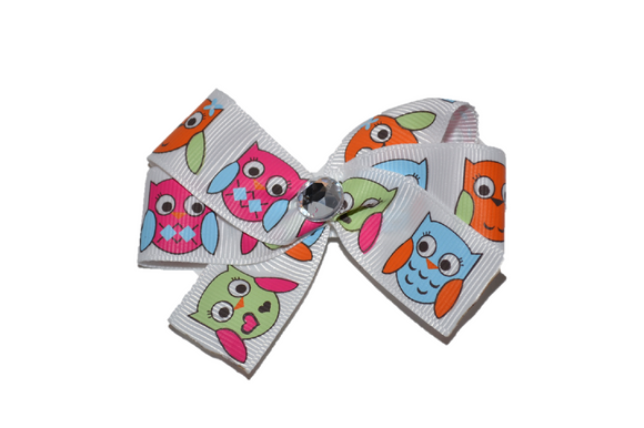 1 Inch Pink Orange Blue Owl Bow (Animal)