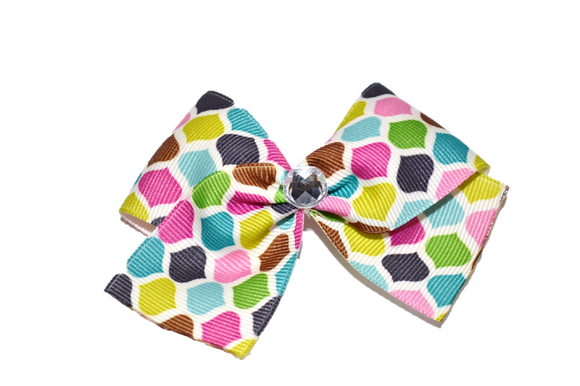 1.5 Inch Green Teal Pink Pattern Bow (Misc Patterns) - Dream Lily Designs