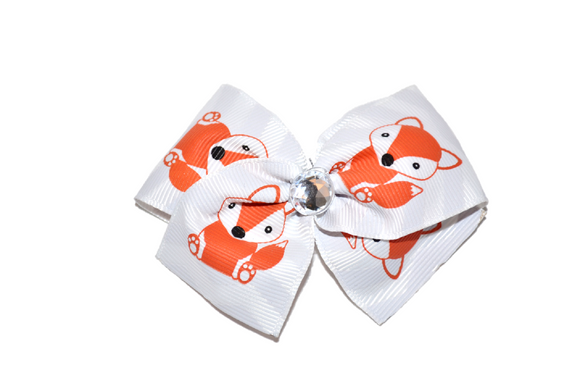 1.5 Inch Grey Chevron Fox Bow (Animal)