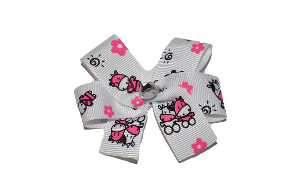 1 Inch Cow White Black Pink Bow (Animal)