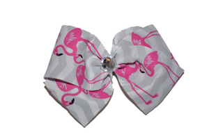 1.5 Inch Grey Chevron Flamingo Bow (Animal) - Dream Lily Designs