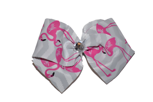 1.5 Inch Grey Chevron Flamingo Bow (Animal)