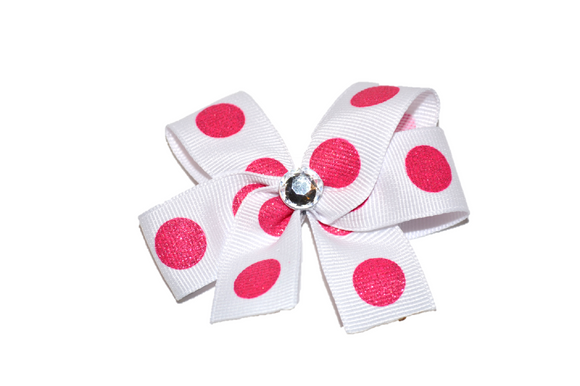 White with Pink Glitter Polka Dots Bow (Misc Patterns) - Dream Lily Designs