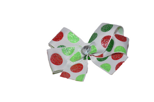 White Red Green Christmas Glitter Polka Dots Bow (Misc Patterns) - Dream Lily Designs