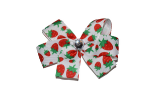 Strawberry Hair Bow (Food) - Dream Lily Designs