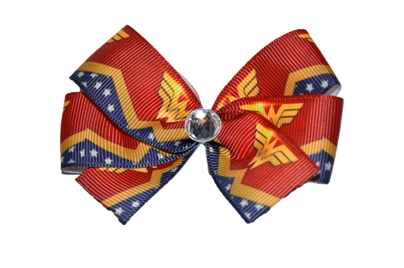 Red and Navy Wonder Woman Bow (Superhero) - Dream Lily Designs