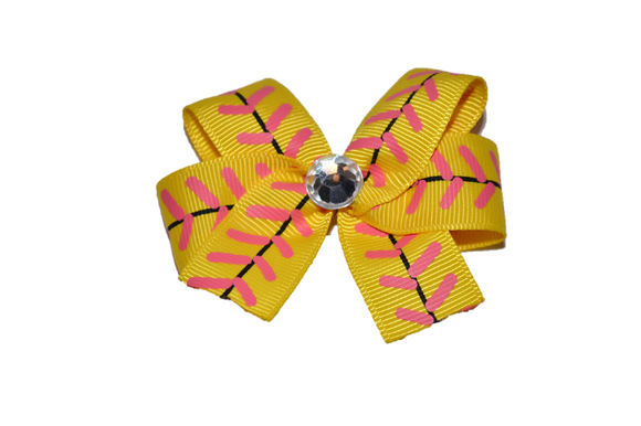 Yellow Softball Stitch Bow (Sports) - Dream Lily Designs