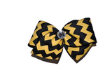 1.5 Inch Black and Yellow Chevron Bow (Stripes and Chevron) - Dream Lily Designs
