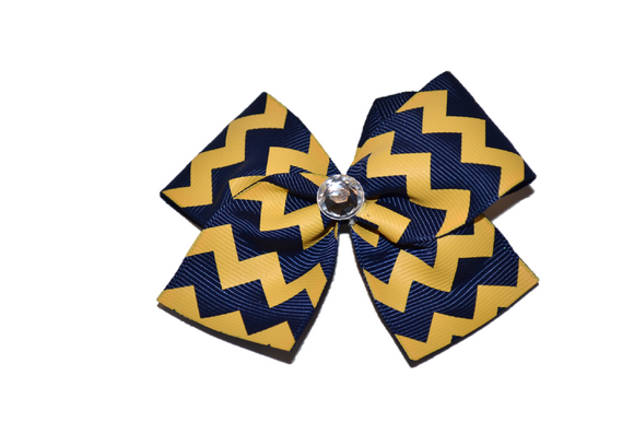 1.5 Inch Royal Navy Blue and Yellow Chevron Bow (Stripes and Chevron)