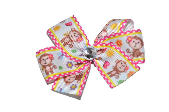 Pink and Yellow Bordered Monkey Bow (Animal) - Dream Lily Designs