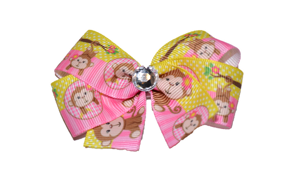 Pink and Yellow Monkey Bow (Animal)