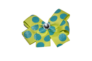 Yellow with Teal Glitter Polka Dots Bow (Misc Patterns) - Dream Lily Designs