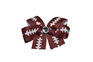 Brown Football Bow (Sports) - Dream Lily Designs