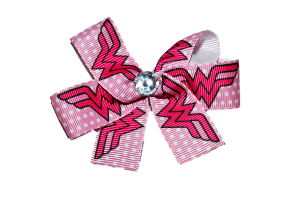 Pink Wonder Woman Bow (Superhero) - Dream Lily Designs