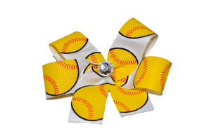 Big Softball Bow (Sports) - Dream Lily Designs