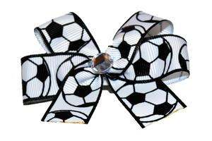 Bordered Soccer Bow (Sports) - Dream Lily Designs
